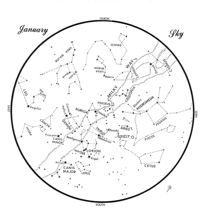 This chart represents the sky as it appears over Maine during January. The stars are shown as they appear at 9:30 p.m. early in the month, at 8:30 p.m. at midmonth and at 7:30 p.m. at month's end. Jupiter is shown in its midmonth positon. To use the map, hold it vertically and turn it so that the direction you're facing is at the bottom.
