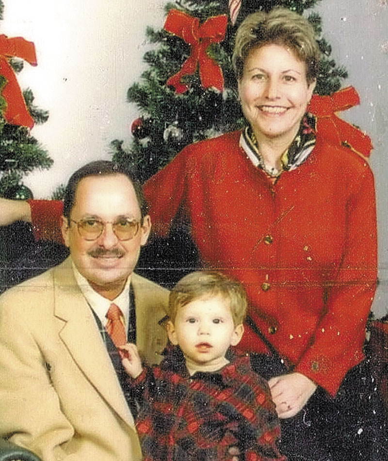 Russell and Eleanor Handler pose for a holiday photo with David when he was 15 months old.
