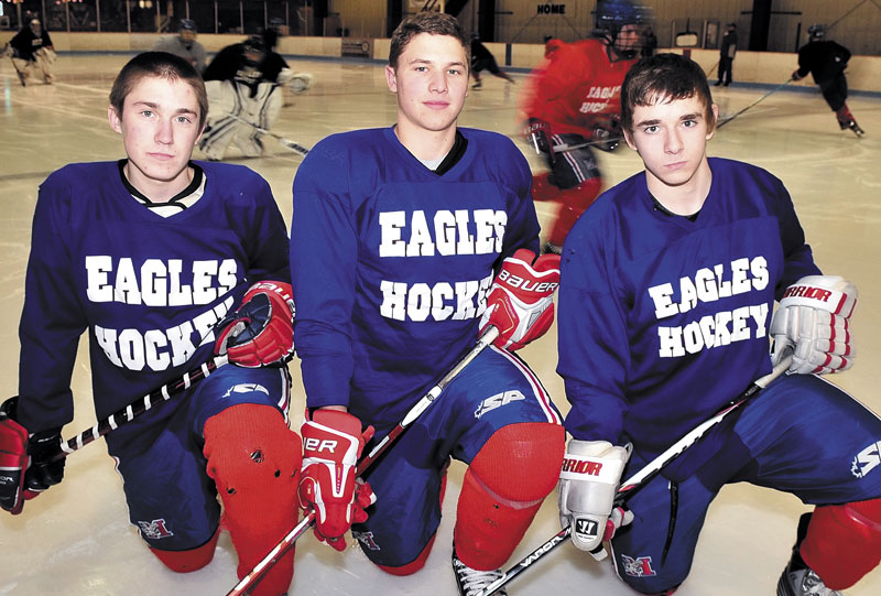 TALENTED TRIO: Messalonskee senior Sam Dexter, center, is paired on the Eagles' top line with sophomores Chase Cunningham and James Varney this season. Dexter had 29 points last season and Cunningham had 25, while Varney played primarily as a defenseman.
