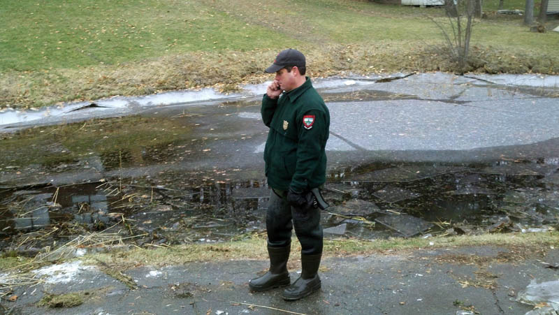 A pond near the home of toddler Ayla Reynolds was drained and searched by Steve Allarie and others from the Maine State Warden Service today. The pond, on First Rangeway in Waterville, is a few blocks from the home where the child was last seen late Friday.