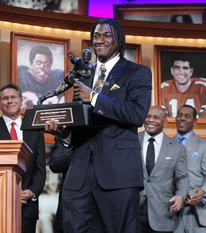 THE WINNER IS: Robert Griffin III, of Baylor University, was awarded the Heisman Trophy on Saturday in New York.