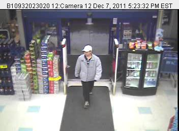 A person suspected of robbing a Rite Aid in Winthrop Wednesday night is seen in an image from the store's security camera. Police asked that anyone with information to call Winthrop police at 377-7226.