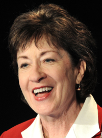 Sen. Susan Collins was the only GOP senator last week to vote in favor of raising taxes on millionaires to pay for a Social Security payroll tax cut extension.