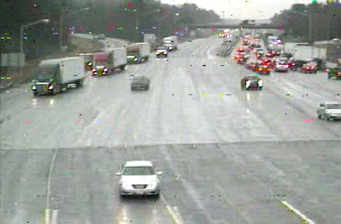 This image taken by a webcam on the turnpike at 10:26 a.m. shows traffic backed up at the York toll plaza. Southbound lanes are at a standstill for the entire seven-mile stretch between the Maine-NH border and the toll plaza. Motorists traveling south in that area of Maine need to be aware that the traffic conditions may not return to normal for several hours. this photo shows the southbound lane of the turnpike from the York toll booth