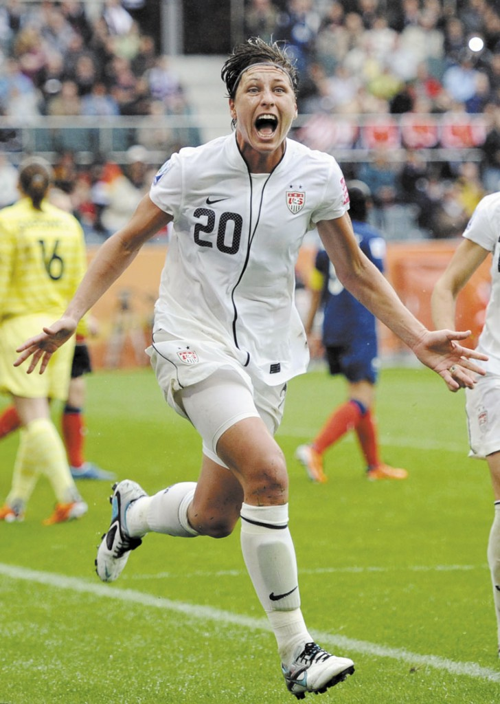 WHAT A MOMENT: Abby Wambach celebrates after scoring a goal in the United States women's soccer team's semifinal match against France in the World Cup earlier this year. Wambach, whose thunderous header in the final seconds of the World Cup quarterfinals led the U.S. to an improbable victory and sparked a nationwide frenzy rarely seen for women's sports, has been voted the 2011 Female Athlete of the Year.