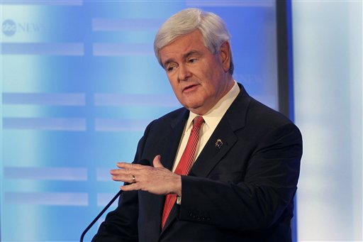 Former House Speaker Newt Gingrich answers a question during a Republican presidential debate at Saint Anselm College in Manchester, N.H. on Saturday. (AP Photo/Elise Amendola) Former House Speaker Newt Gingrich answers a question during a Republican presidential candidate debate at Saint Anselm College in Manchester, N.H., Saturday, Jan. 7, 2012. (AP Photo/Elise Amendola)