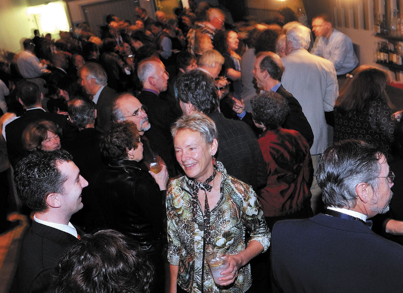 PARTY TIME: Mayor Karen Heck greets people at the Waterville mayoral inaugural ball at Champions on Saturday night.