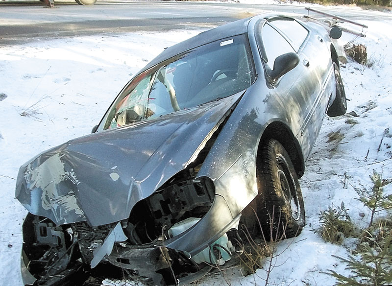 COLLISION: Nancy Minard, 62, of Jackman was injured when the car she was driving crashed into a utility pole Wednesday on Route 15 in Jackman.