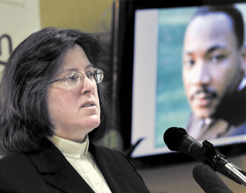 REMEMBERED: The Rev. Arlene Tully spoke about the power of love at a Martin Luther King Jr. community breakfast at Spectrum Generations Muskie Center in Waterville on Monday.
