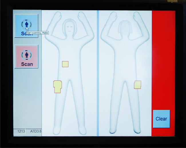 The new passenger screening devices at Portland International Jetport uses new software that displays the suspect items on a generic body outline rather than a passenger-specific image.