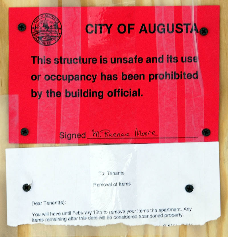 The city has prohibited the occupancy of 23 Drew Street in Augusta following a weekend fire.