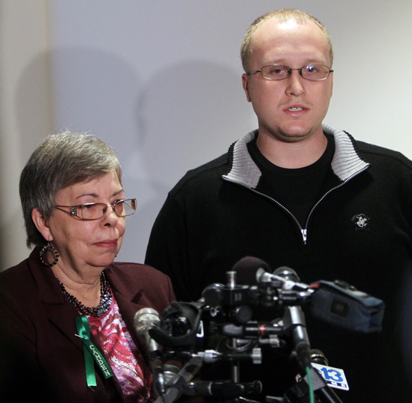 Julianne McCrery's mother Lu Rae McCrery, left, and Julianne's son Ian McCrery talk to reporters following the sentencing hearing today.