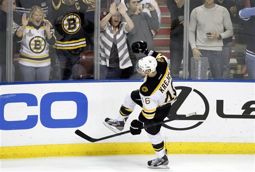 Boston Bruins center David Krejci (46) celebrates after scoring the game winning goal during a shootout in a game Monday against the Florida Panthers in Sunrise, Fla. The Bruins defeated the Panthers in a shootout 3-2.