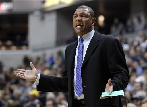 Boston Celtics head coach Doc Rivers questions a call in the first half of an NBA basketball game against the Indiana Pacers on Saturday in Indianapolis.