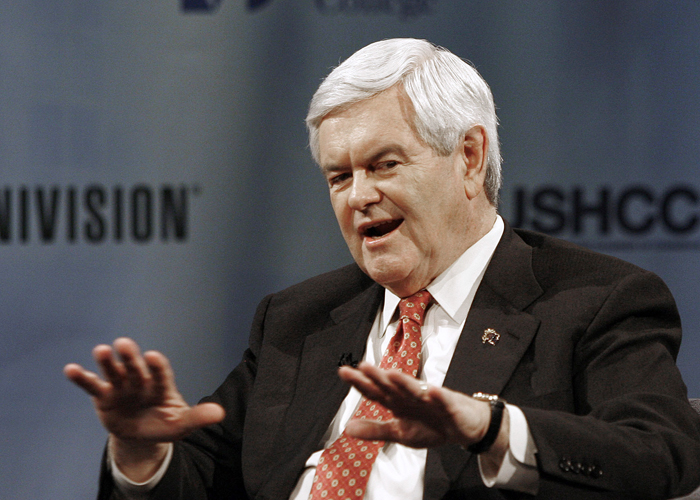 """Republican Presidential candidate Newt Gingrich appears at a """"Meet the Candidates"""" forum in Miami today."""
