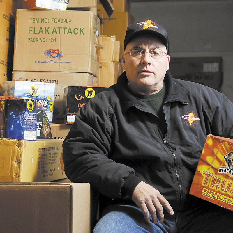 Steve Marson hopes to open a fireworks store in Winslow to sell the pyrotechnics he stores at his Farmingdale firm, Central Maine Pyrotechnics.