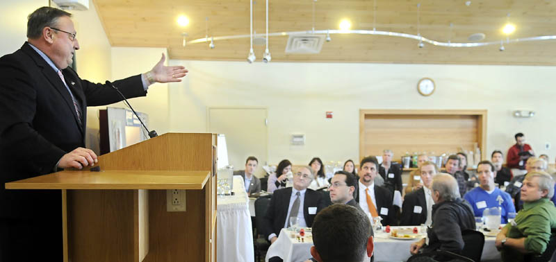 Gov. Paul LePage addresses Monday a gathering of the Maine Wood Products Association in Hallowell.