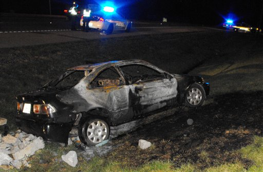 This photo provided by the Tennessee Methamphetamine Task Force shows the aftermath of what authorities say was a mobile shake-and-bake meth lab vehicle in Clarksville, Tenn.