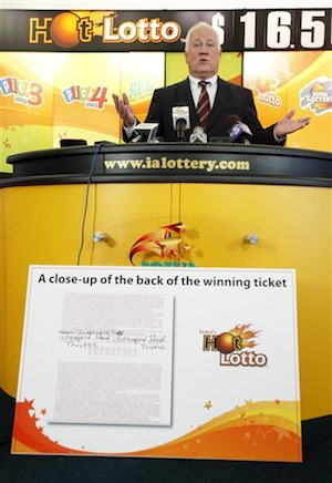 Iowa Lottery CEO Terry Rich speaks during a news conference at the Iowa Lottery headquarters, Monday, Jan. 23, 2012, in Des Moines, Iowa. (AP Photo/Charlie Neibergall)