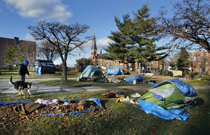The Occupy Maine encampment in Portland's Lincoln Park in a Dec. 8, 2011, photo.