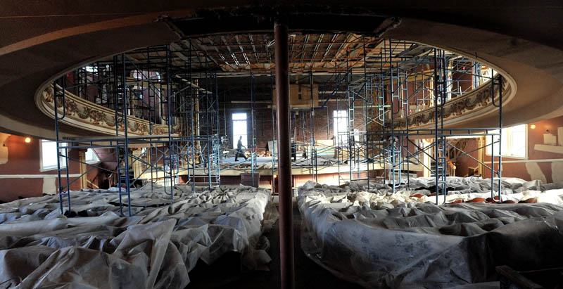 Tarps and scaffolding fill the Waterville Opera House as renovations continue forward on Tuesday.
