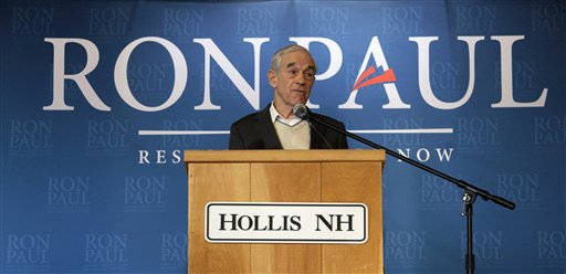 Republican presidential candidate Ron Paul speaks at the Hollis Community Center in Hollis, N.H., today.