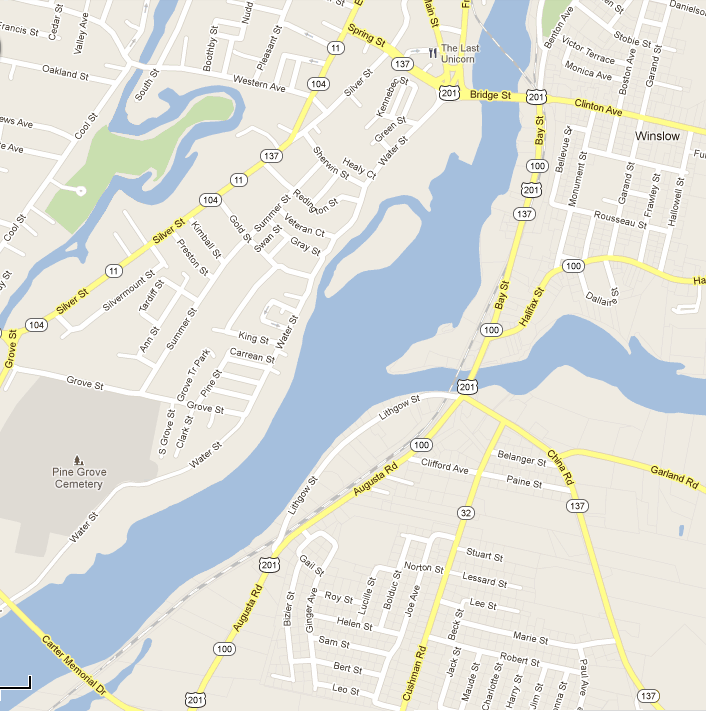 Map shows the portion of the Kennebec River that is being searched by divers today, from the Carter Memorial Bridge up to the Ticonic Bridge, which connects the downtowns of Waterville and Winslow.