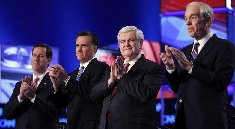 Republican presidential candidates Rick Santorum, Mitt Romney, Newt Gingrich and Ron Paul take the stage for a debate Thursday evening at the North Charleston Coliseum in Charleston, S.C.