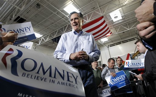 Mitt Romney campaigns at Ring Power Lift Trucks in Jacksonville, Fla., today.