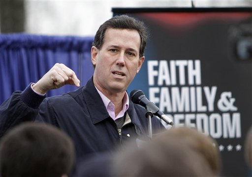 Republican presidential candidate Rick Santorum speaks at an outdoor campaign stop today in Nashua, N.H.
