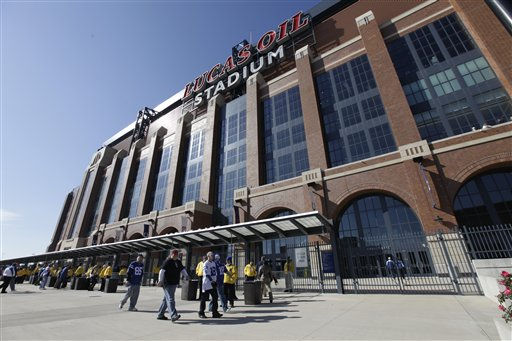 Lucas Oil Stadium in Indianapolis, where the New England Patriots and New York Giants will face off on Feb. 5