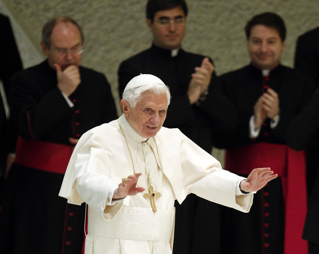 Pope Benedict XVI arrives for his weekly general audience at the Vatican on Wednesday.
