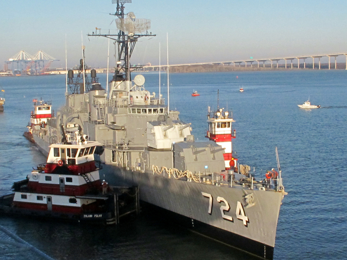 The restored USS Laffey is towed to its berth at the Patriots Point Naval and Maritime Museum in Mount Pleasant, S.C., today.