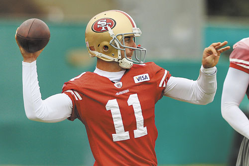 BREAKTHROUGH SEASON: San Francisco 49ers quarterback Alex Smith has thrown for 3,144 yards to go along with 17 touchdowns and only five interceptions.