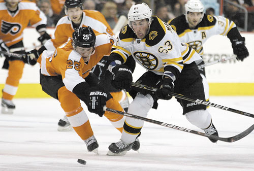 CHASING IT DOWN: Philadelphia's Matt Carle, left, and Boston's Brad Marchand race after the puck during the first period Sunday in Philadelphia.