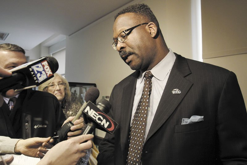 SUPPORTING THE CAUSE: Pro Football Hall of Famer Andre Tippett leant his support to a legislative bill to help schools better manage head injuries suffered by athletes Wednesday at the State House in Augusta.