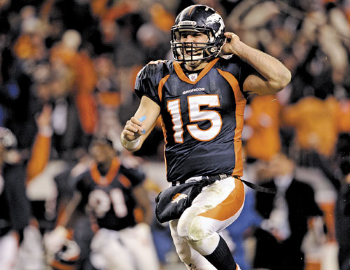 WINNING TD: Denver Broncos quarterback Tim Tebow celebrates his 80-yard touchdown pass in overtime, giving the Broncos a 29-23 win over the Pittsburgh Steelers on Sunday in Denver.
