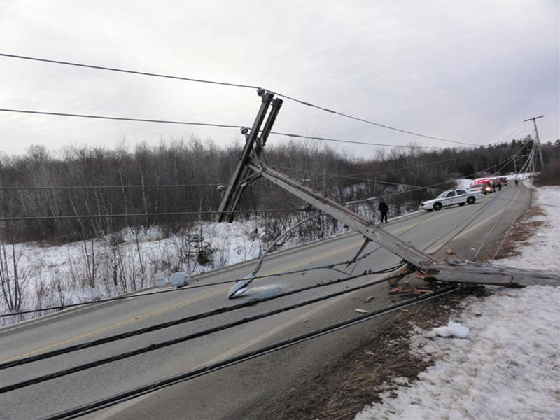Tammy Rastelli, 38, of Gardiner, was hospitalized on Saturday after a crash in which her car went off Whitten Road and struck a utility pole, cutting electrical power to the area — including traffic signals — and she faces charges of drunken driving.