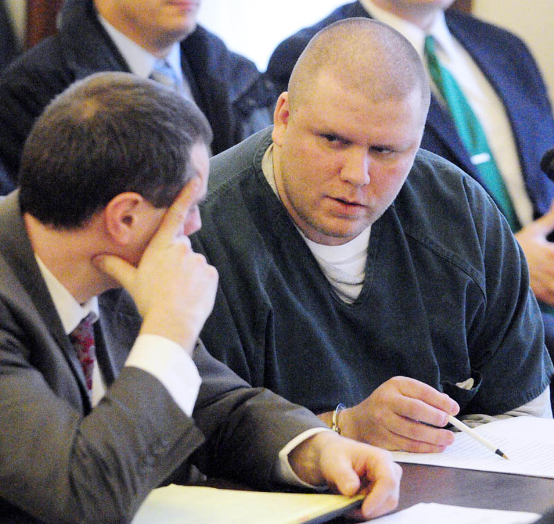 Attorney Kevin Sullivan, left, sits with Peter George Bathgate II who pled guilty today in Kennebec County Superior Court to the intentional and knowing murder of Peter Allen. Bathgate will spend 45 years in prison for the Dec. 3, 2010 murder.