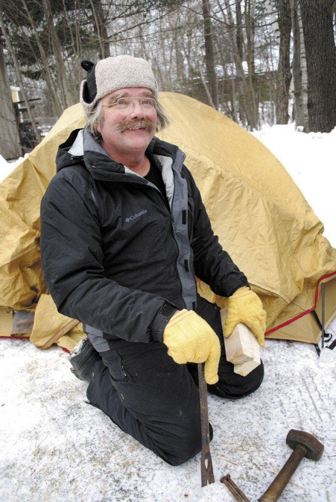 WORTH THE WAIT: Bernie Chadbourne lives in Ripley and has been going to Baxter State Park for 20 years. He camped outside at the park headquarters earlier this month and was among the first in line to make summer camping reservations.