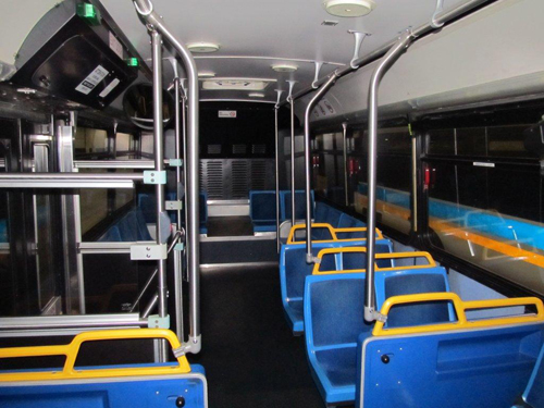 Interior of one of the 14 free buses from New York.