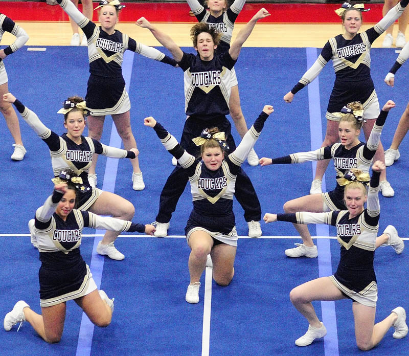 GIVE A CHEER: The Mt. Blue Cougars perform their routine during the Eastern Maine Class A cheering competition on Saturday night at the Augusta Civic Center.