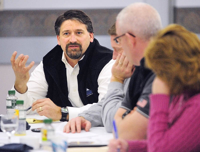 Michael A. Duguay, development director for the city, answers questions during the city council goal-setting session on Saturday at the Augusta Civic Center.