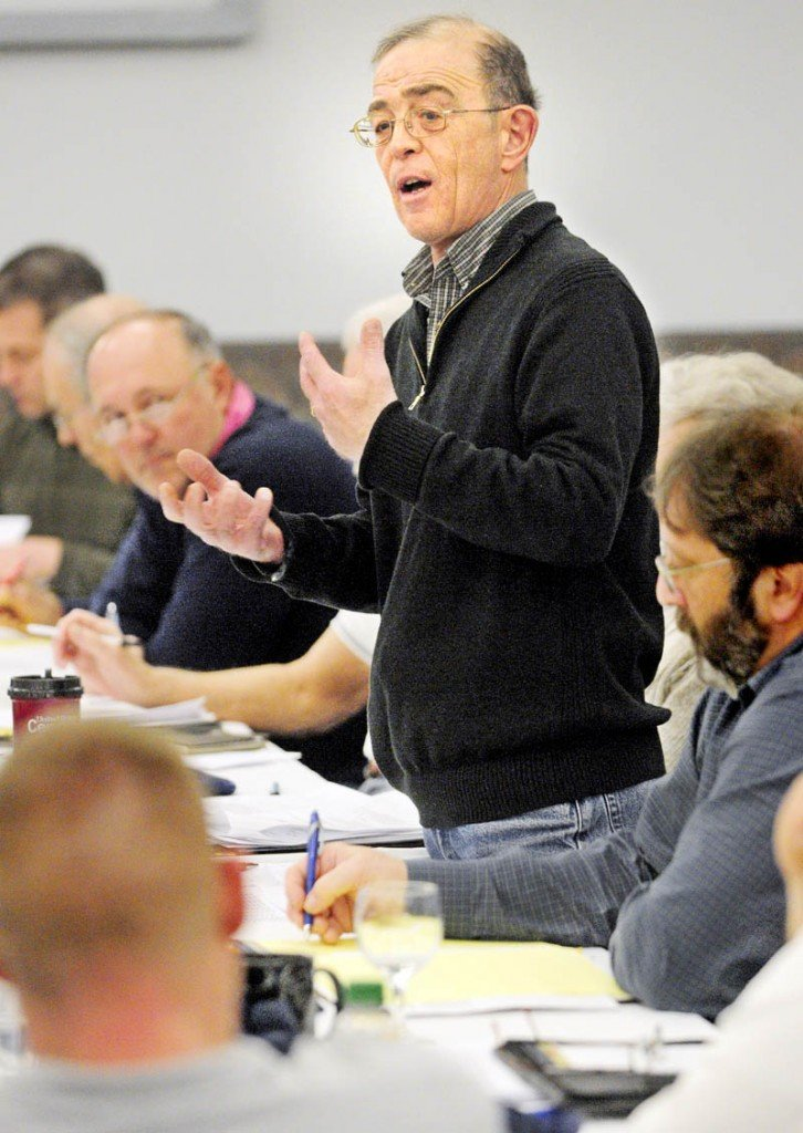 Ralph St. Pierre, Assistant City Manager/Director of Finance and Administration, speaks about revenue projections during the city council goal-setting session on Saturday at the Augusta Civic Center.