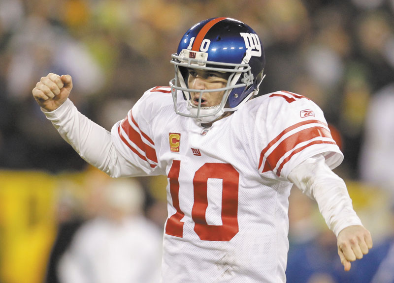 MOVING ON: New York Giants quarterback Eli Manning celebrates during the second half of the Giants' 37-20 win over the Green Bay Packers in a NFC divisional round game Sunday in Green Bay, Wis.