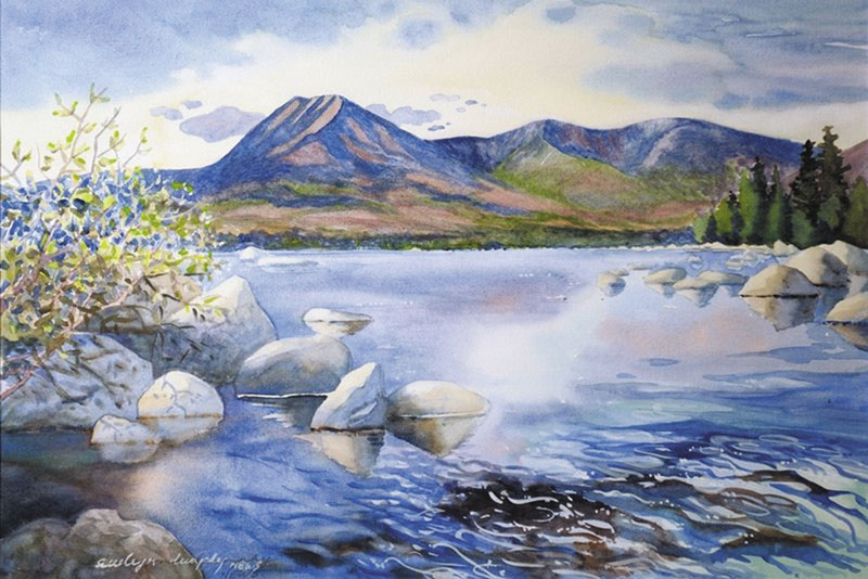 CAPTURE THE SCENE: Evelyn Dunphy painted this watercolor of Mount Katahdin and Katahdin Lake for Huber Resources Corp. as a token of thanks for its donation of 143 acres of land to Baxter State Park.