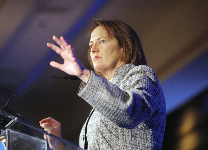 Karen Mills, administrator of the Small Business Association, speaks at Eggs & Issues in Portland today. Her post was recently elevated to a Cabinet-level position by President Barack Obama.