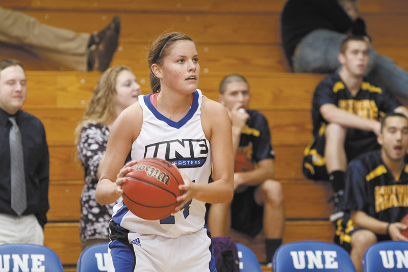 Stepping up: Newport native and former Nokomis Regional High School standout Kelley Paradis is one of the leaders on the University of New England women's basketball team. Paradis leads the team with 16.3 points agame. She also averages three steals.