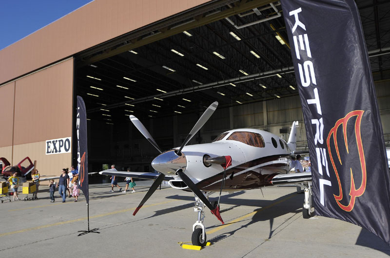 UP, UP AND AWAY: A Kestrel airplane on display at The Great State of Maine Airshow last August.