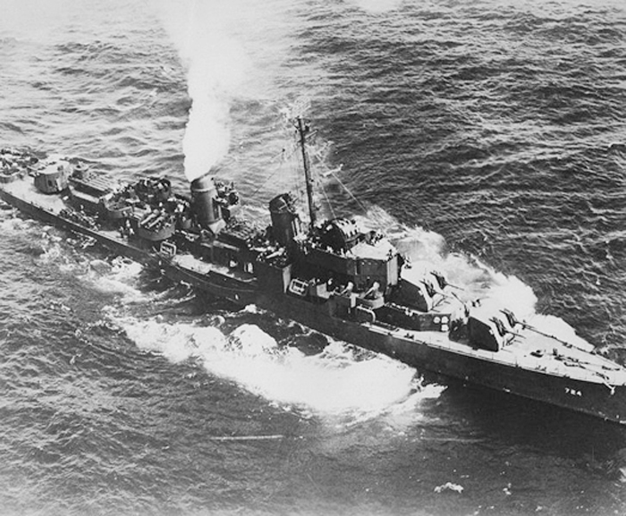 A U.S. Navy photo of the destroyer USS Laffey, seen here some time during World War II.